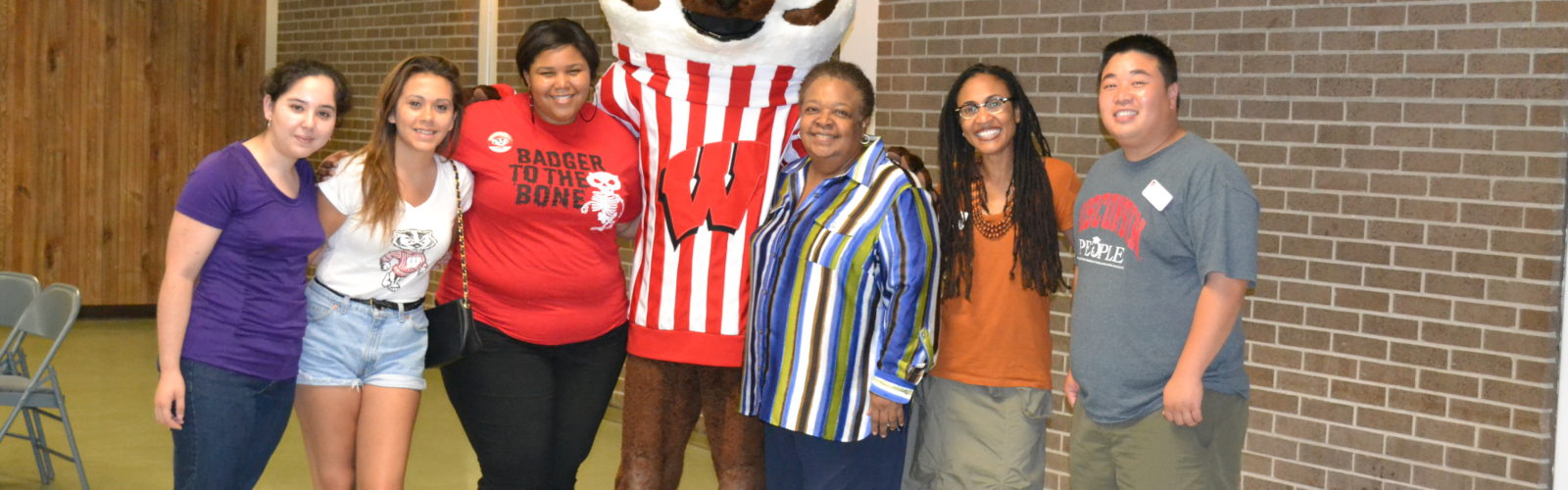 Summer staff with Bucky Badger and Jackie DeWalt